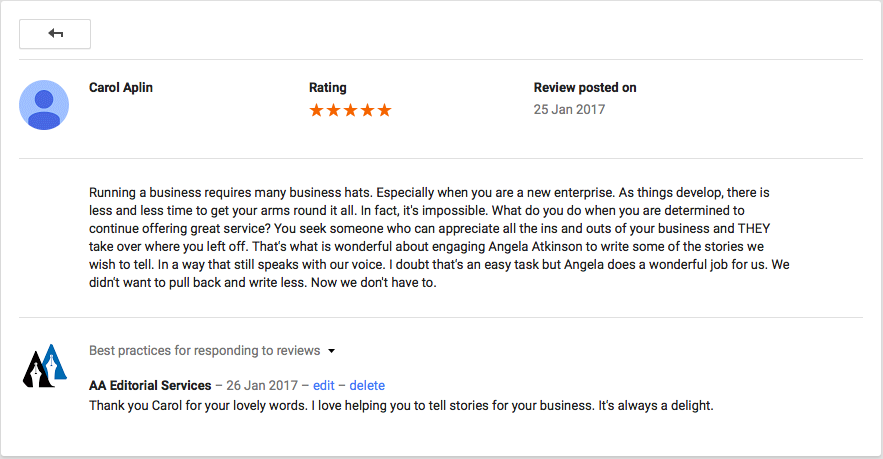 Review left on Google+ from Carol Aplin, owner of Pink&Green skincare.