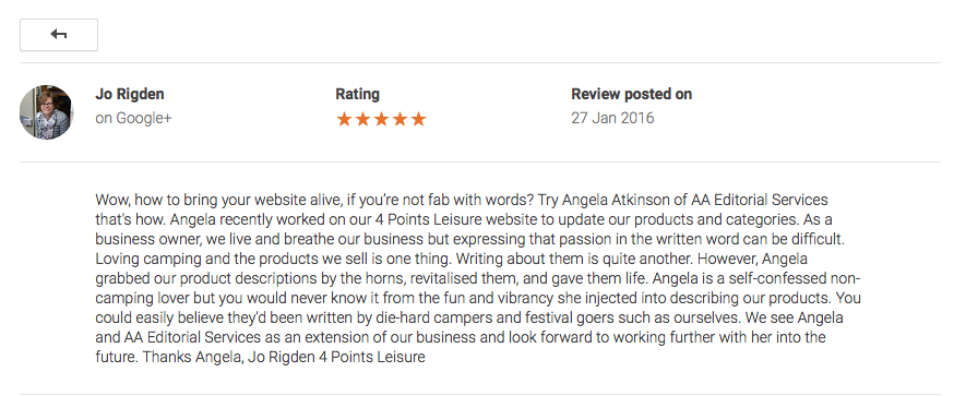Screenshot of Google+ review from a client of AA Editorial Services