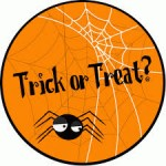 image spider and web and words trick or treat