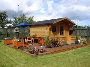 summer house and decking